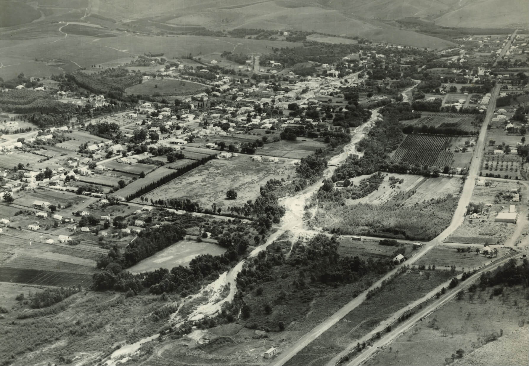 View of old Swellendam from above.