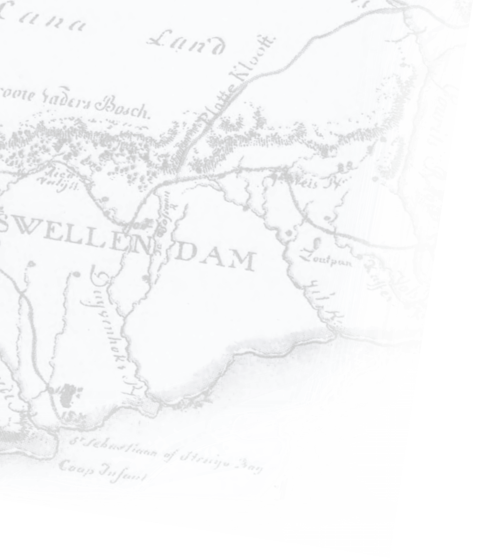 Old map of South Africa showing Swellendam.